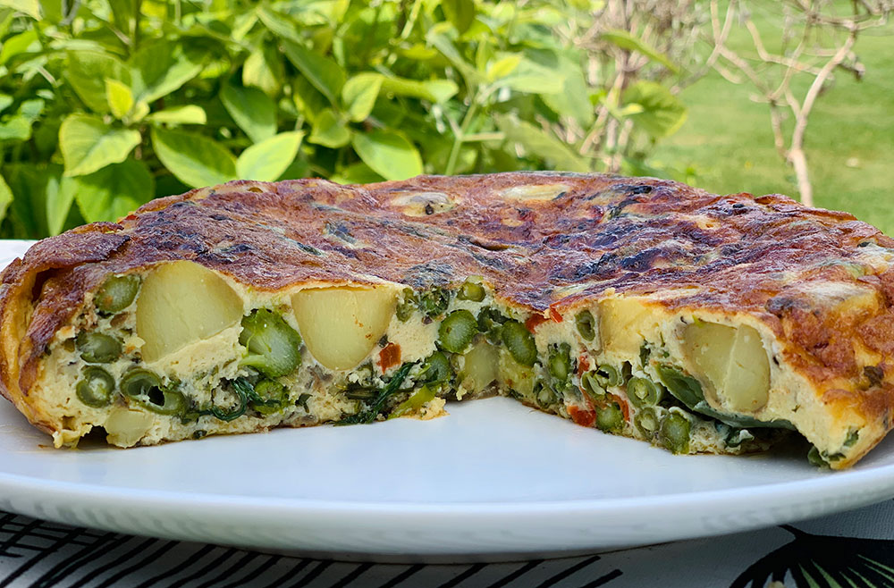 VEGETABLE FRITTATA, WILD GARLIC & WALNUT PASTE